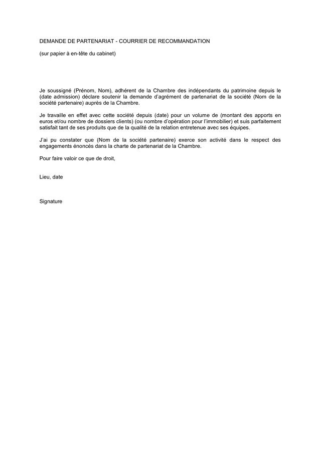 Demande de partenariat - courrier de recommandation page 1