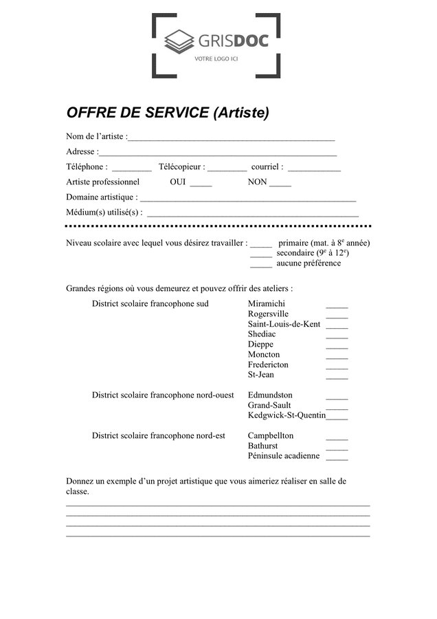 model u00e9 d u0026 39 offre de service - artiste - doc  pdf