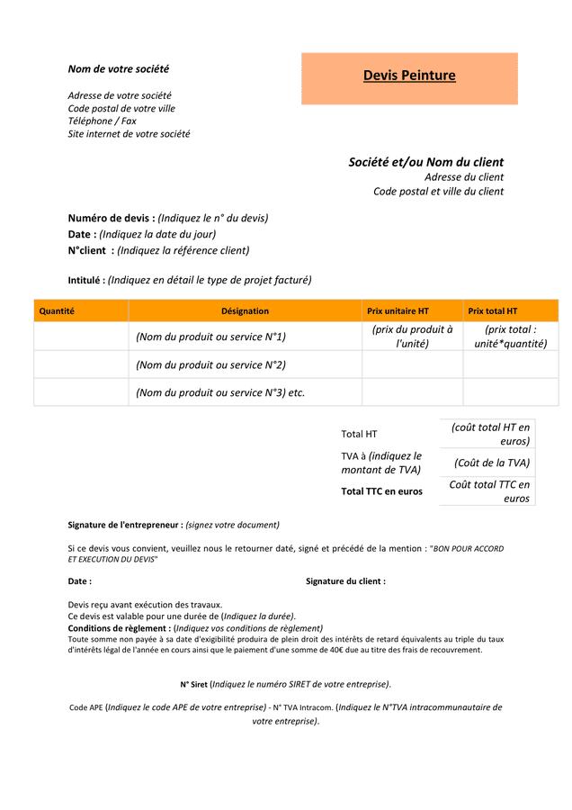 Modelé de devis peinture - DOC, PDF - page 1 sur 1
