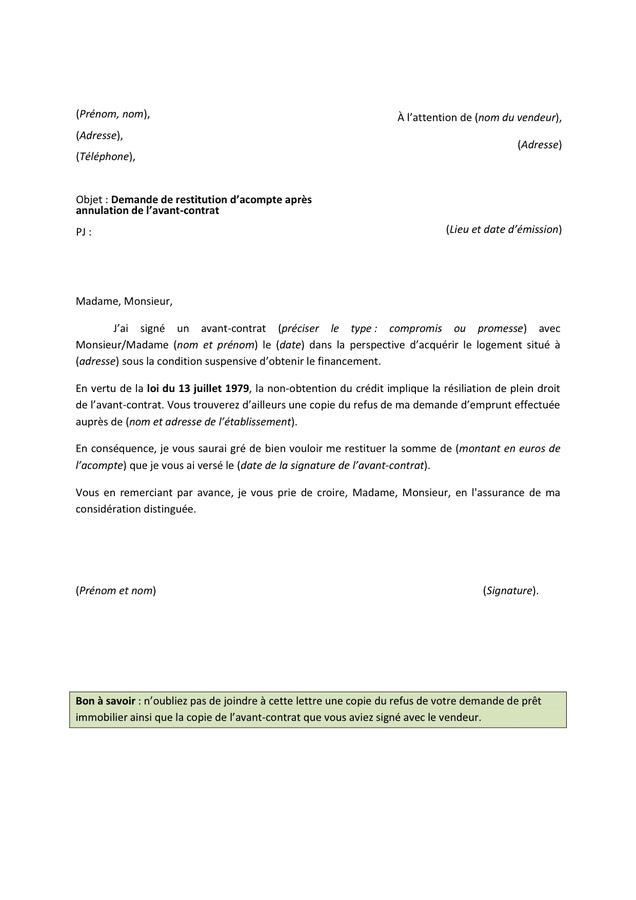 demande de restitution d u2019acompte apr u00e8s annulation de l u2019avant - contrat - doc  pdf