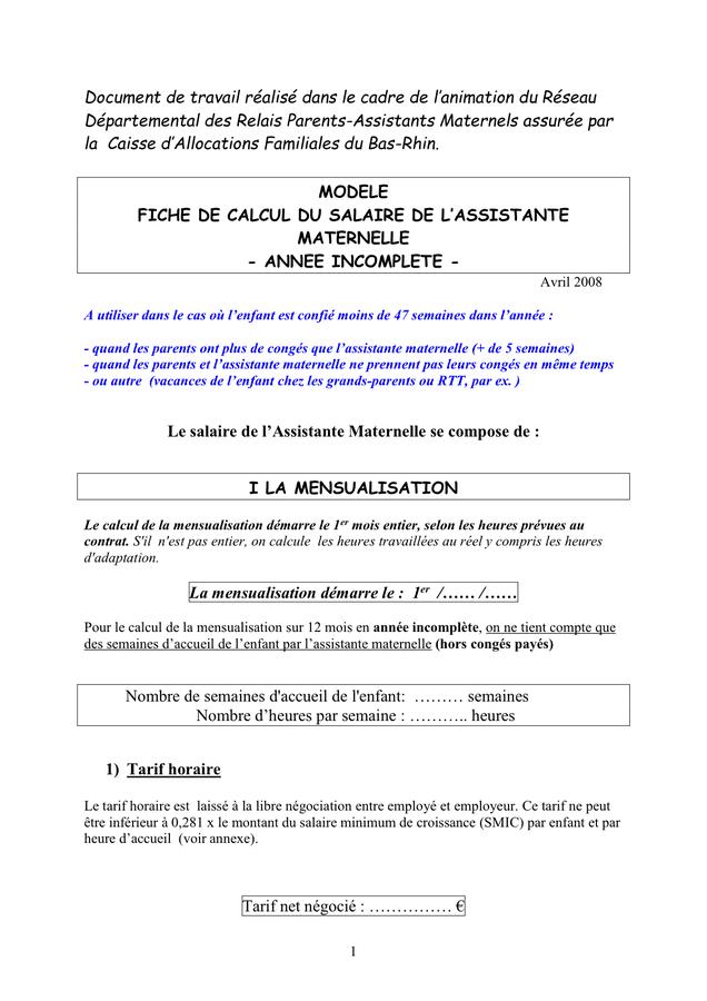 Le célèbre Modele De Fiche De Paie Assistant Maternel &YM14 – HumaTraffin &OT_19