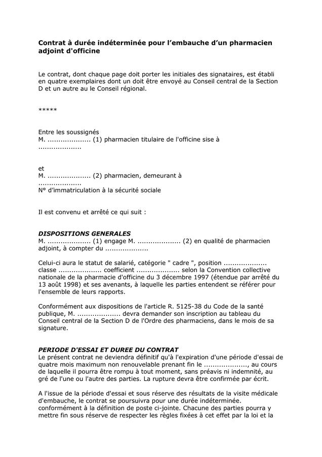 model u00e9 cdi pour l u2019embauche d u2019un pharmacien adjoint d