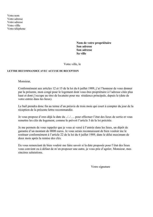 lettre de pr u00e9avis de d u00e9part d un logement 3 mois