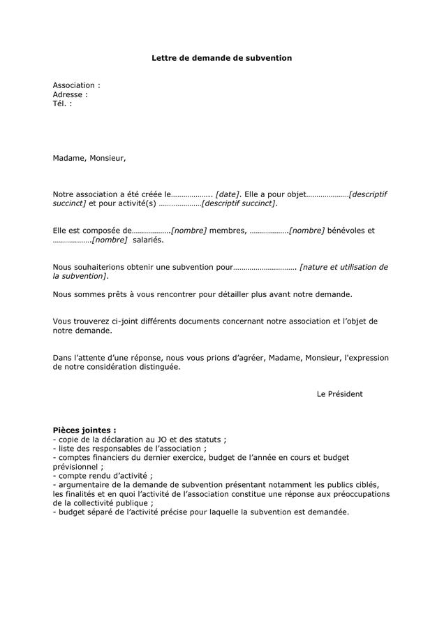 Moderne Lettre de demande de subvention - DOC, PDF - page 1 sur 1 OL-45