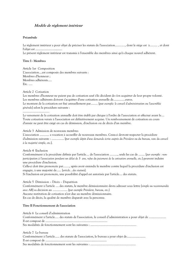 Reglement Interieur Association
