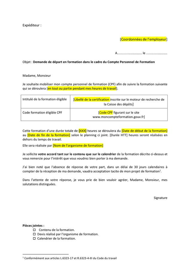 Lettre Demande Formation Cpf Doc Pdf Page 1 Sur 1