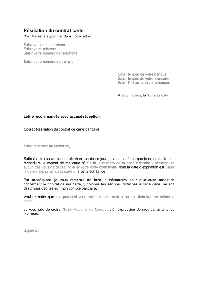 lettre résiliation carte bancaire Résiliation de votre contrat carte bancaire   DOC, PDF   page 1 sur 1