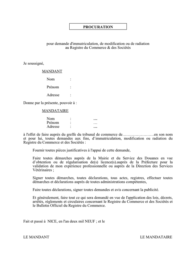 Procuration pour demande d 39 immatriculation modification - Immatriculation chambre de commerce ...