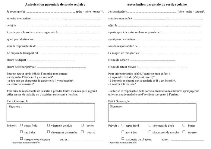 Étonnant Modelé d'autorisation parentale de sortie scolaire - DOC, PDF JU-05